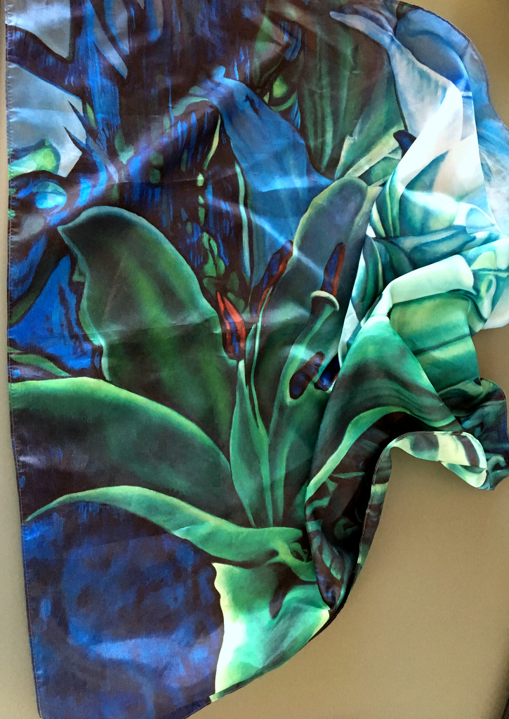Blue Green Lilly šátek II