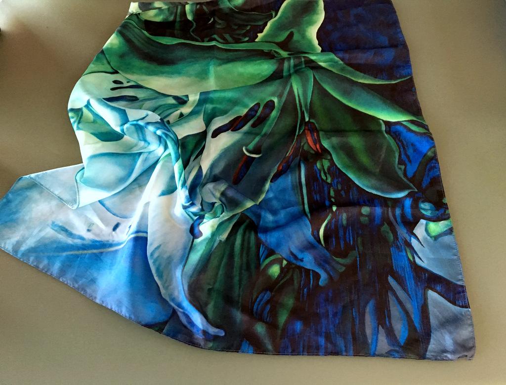 Blue Green Lilly šátek III