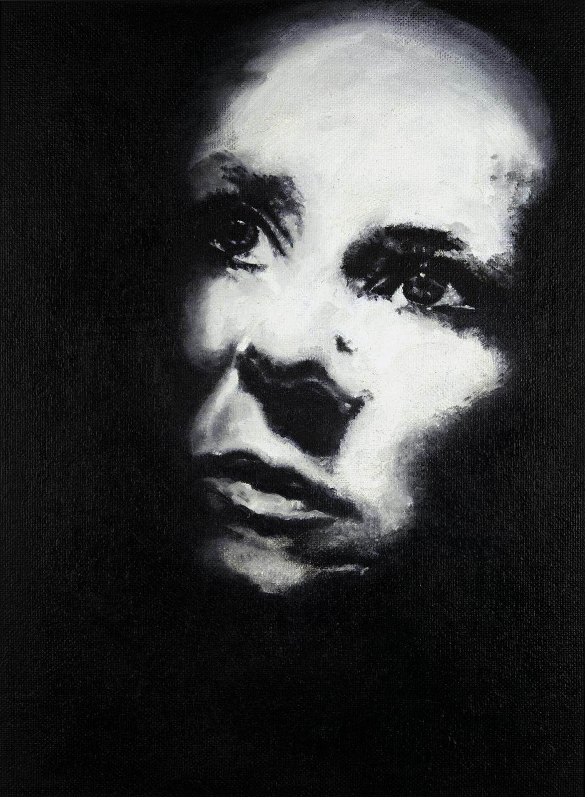 1-Portret-illo/olej/sololit/2013/ 40x54,5cm/rám broušený nerez/Nielsen